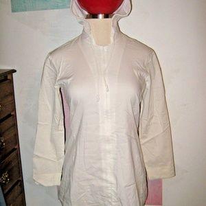Off White Hooded Partial Zip Guru Stretch Shirt M
